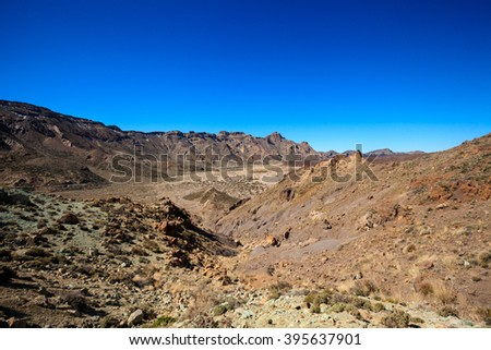 Mountain landscape on tropical island Tenerife, Canary in Spain. Beautiful scene on El Teide volcano. #395637901