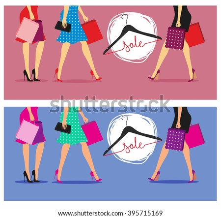 Spring and summer sales. The colorful vector illustration of women with shopping bags  #395715169
