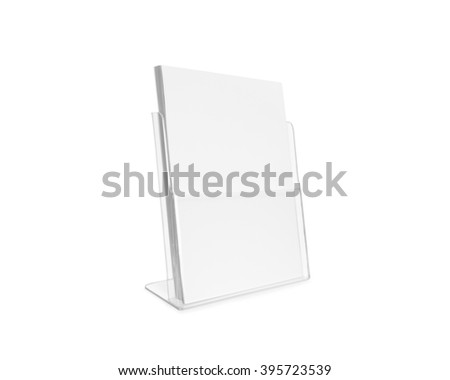 Blank flyer mockup glass plastic transparent holder isolated. Plain flier stand. Clear brochure holding. Clean poster mock up design presentation. Shows flyers. Pamphlet design. Empty paper template. #395723539