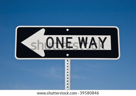 One Way sign on blue sky background
