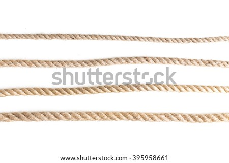 collection of various ropes on white background #395958661
