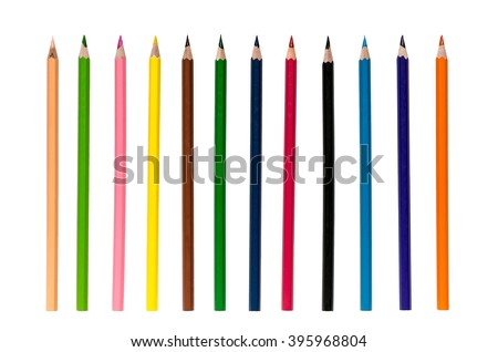 Color pencils isolated on white background close up with Clipping path.Beautiful color pencils.Color pencils for drawing. Royalty-Free Stock Photo #395968804