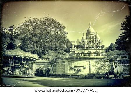 Sacre Coeur Basilica in Paris in summer day. Vintage view. Sacre Coeur in Paris old retro style.