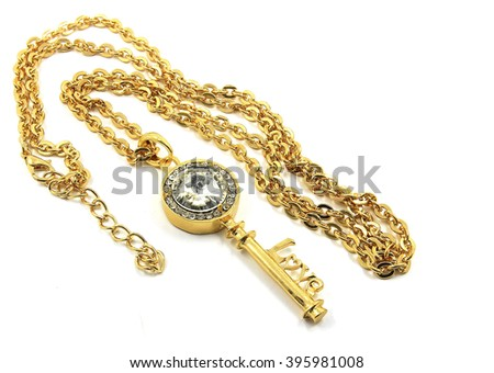 Luxury necklace. Silver and gold finish. White background #395981008