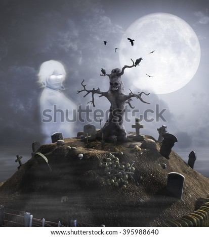 Abandoned graveyard on a haunted hill with ghost. #395988640