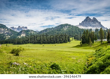 Picturesque Dolomites landscape in summer time. Italy #396146479