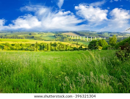 Summer landscape with green grass and clouds. #396321304