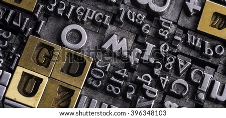 Metal Letterpress Types. A background from many historic typographical letters in black and white with white background.  #396348103