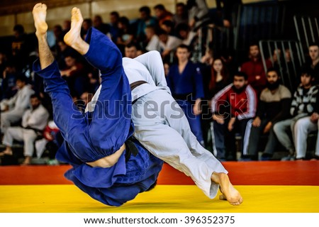 fighter judo throw for IPPON in competition judo Royalty-Free Stock Photo #396352375