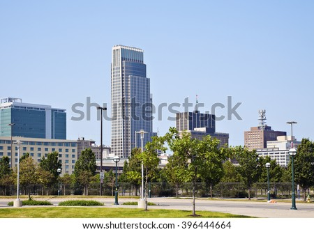 Morning in Omaha - skyline of the city. Omaha, Nebraska, USA.
