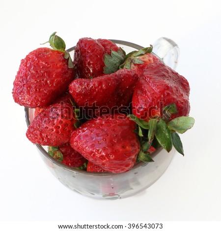 strawberrys on wite #396543073