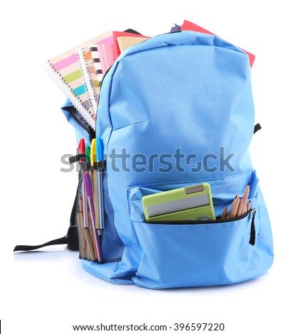 Backpack with school supplies, isolated on white Royalty-Free Stock Photo #396597220