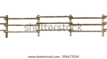 Wooden fence at ranch isolated over white background Royalty-Free Stock Photo #396673504