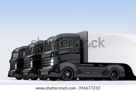 Hybrid electric trucks in line. 3D rendering image with clipping path. #396677233