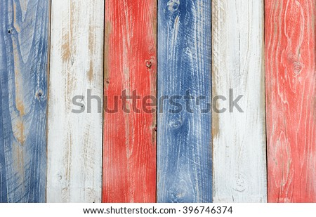 Stressed wooden boards painted red, white and blue for patriotic concept of United States of America. Layout in vertical format.