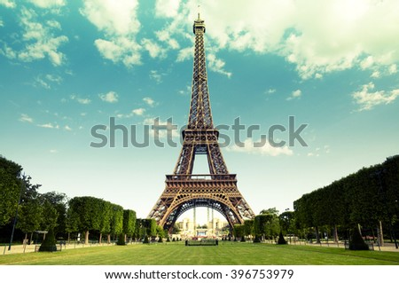 The Eiffel Tower in Paris, France Royalty-Free Stock Photo #396753979