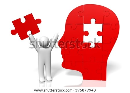 3D illustration/ 3D rendering - puzzle concept - head shape.