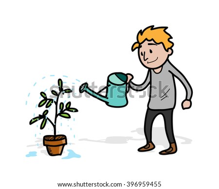 Watering the Vegetation Plant, a hand drawn vector illustration of a man, watering his vegetation plant (each objects on separate groups for easy editing) #396959455