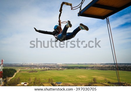 Ropejumping: people in flight from a height. #397030705