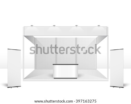 White creative exhibition stand design. Booth template. Corporate identity vector Royalty-Free Stock Photo #397163275