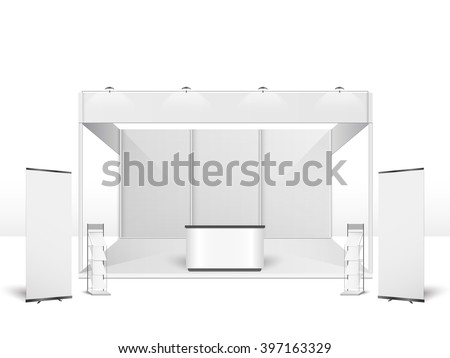 White creative exhibition stand design. Booth template. Corporate identity vector Royalty-Free Stock Photo #397163329