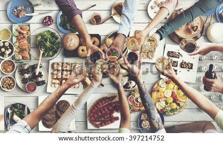 Friends Happiness Enjoying Dinning Eating Concept #397214752