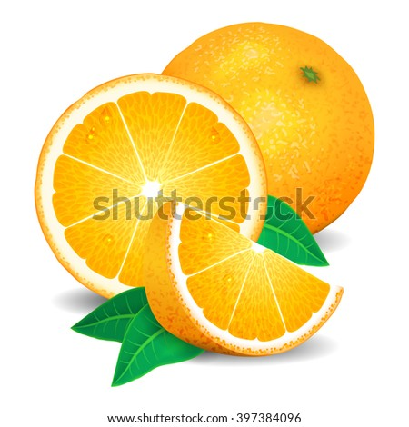 Fresh oranges fruit, pieces of orange. Realistic oranges, vector illustration on white background #397384096