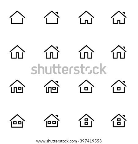 Set 1 of line icons representing house Vector Illustration. House and home simple symbols