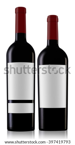 Two red wine bottles with caps and blank labels isolated on white background #397419793