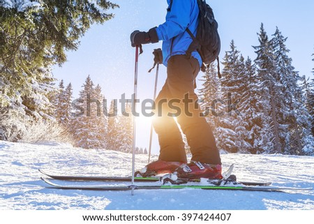 Closeup of ski and shoes of skier on a trail in the forest #397424407