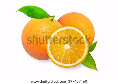 Orange fruits with leaves isolated on white background. Photography of orange. Many oranges like icon, orange image, orange picture, orange icon flat, orange for web. Cut half of the orange