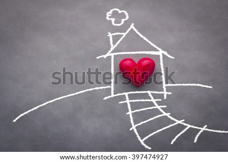 home sweet home house drawing with red heart on grey background #397474927