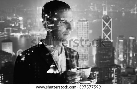 Photo of stylish adult businessman wearing trendy suit and holding cup coffee. Double exposure, panoramic view contemporary city sunset. Horizontal, bokeh, blurred. Black, white