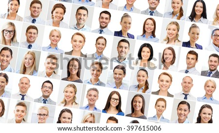 success concept - collage with many business people portraits #397615006