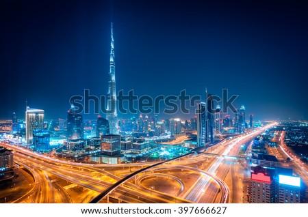 Amazing night dubai downtown skyline, Dubai, United Arab Emirates Royalty-Free Stock Photo #397666627