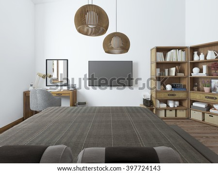Bedroom with TV desk and shelves for books. Room in modern style with a view of the TV. 3D render. #397724143