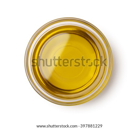 Top view of olive oil bowl isolated on white #397881229