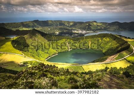Sete Cidades Lagoa Ponta Delgada AZORES Sete Cidades is a civil parish in the centre of the municipality of Ponta Delgada, that is located in a massive volcanic crater three miles across. #397982182