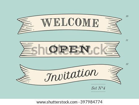 Set of old vintage ribbon banners and drawing in engraving style with word Welcome, Open and Invitation. Hand drawn design element. Vector Illustration Royalty-Free Stock Photo #397984774