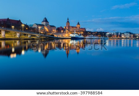 A night view of the Szczecin, Town in Poland,waterfront Royalty-Free Stock Photo #397988584