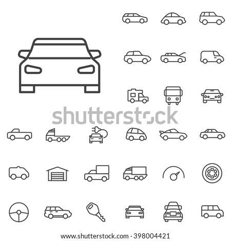 Linear car icons set. Universal car icon to use in web and mobile UI, car basic UI elements set