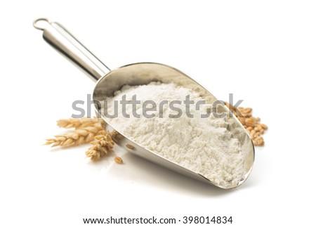 wheat flour isolated on white background Royalty-Free Stock Photo #398014834