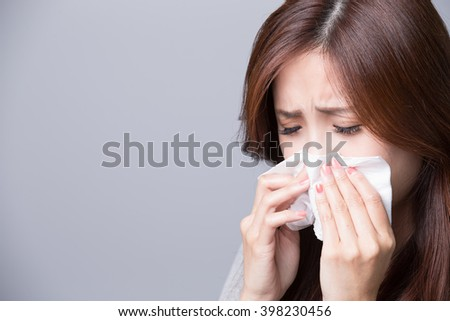 A Woman catches a cold, illness, asian #398230456