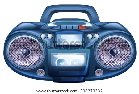 Cartoon radio with cassette player and recorder- isolated - illustration for children
