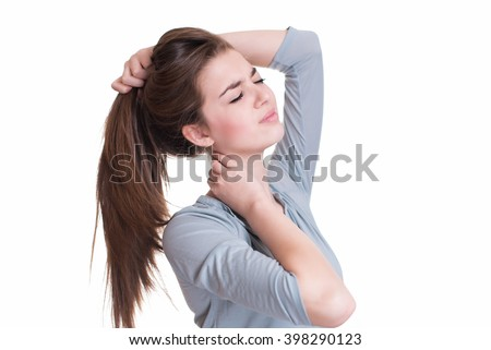 Young woman suffer from neck pain #398290123