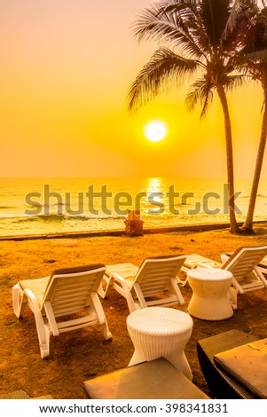 Empty table and chair with sea and sunset background - Vintage Filter #398341831