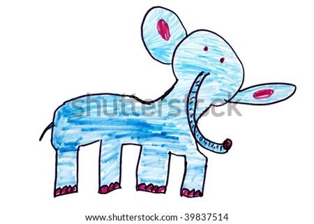 Child`s picture. Blue elephant