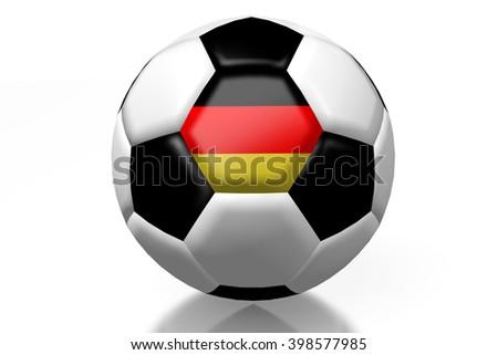 3D illustration/ 3D rendering - soccer/ football - German flag.