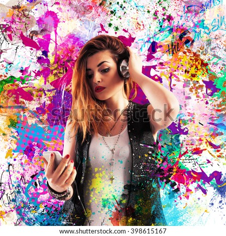 Colourful effect music Royalty-Free Stock Photo #398615167