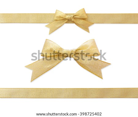 golden ribbon isolated on white #398725402